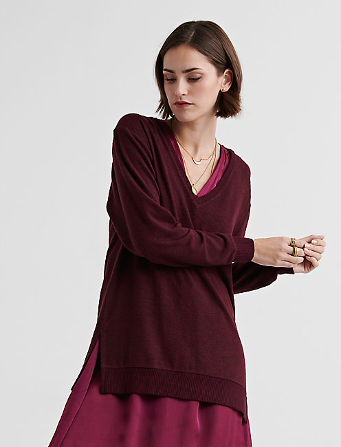 CLOUD JERSEY V NECK TUNIC, WINE TASTING