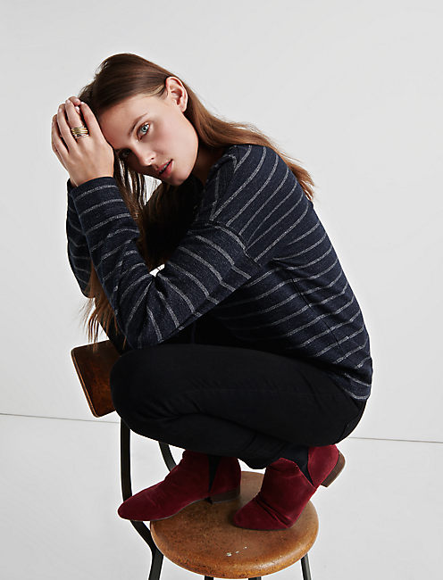SHINE STRIPE PULLOVER, NAVY MULTI