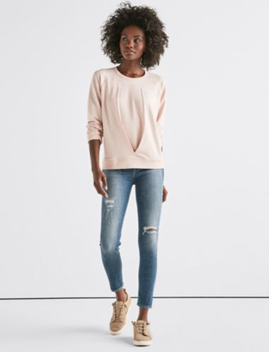 Lucky Pleated Front Sweatshirt