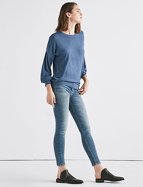 CLOUD JERSEY DROP SHOULDER PUFF SLEEVE SWEATSHIRT,