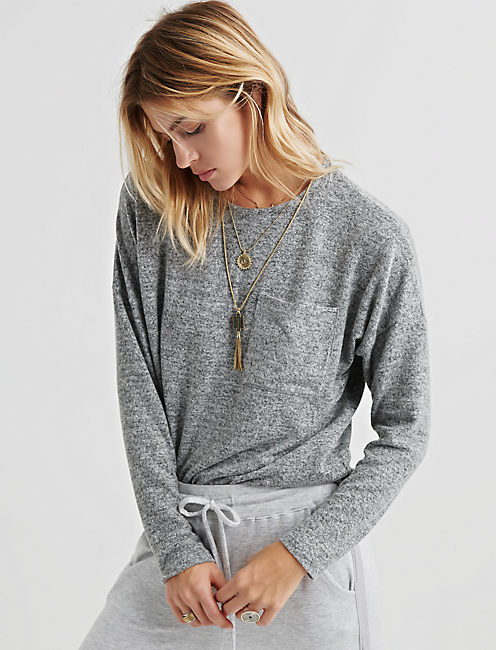 CLOUD JERSEY POCKET PULLOVER, HEATHER GREY