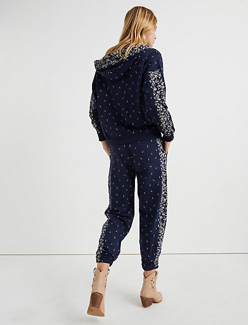 FLORAL PLACED PANT, AMERICAN NAVY