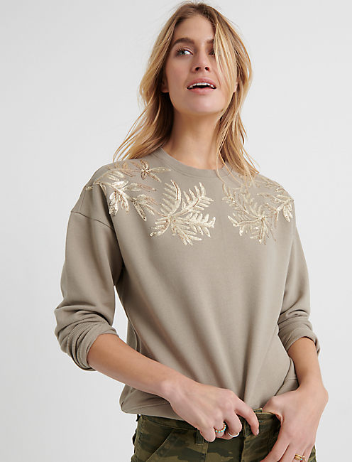 SEQUIN LEAF PULLOVER, PEYOTE