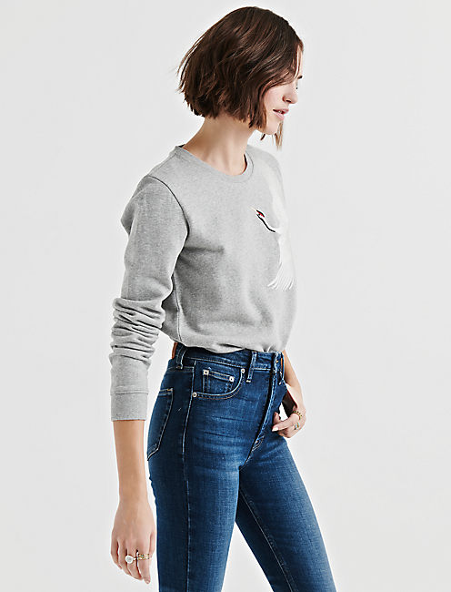 Lucky Embroidered Crane Pullover