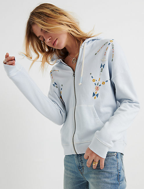 GEO EMBROIDERED ZIP UP,