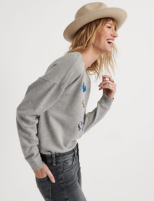 BUCK OFF PULLOVER, HEATHER GREY