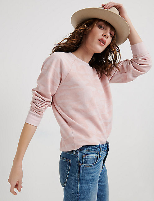 Pink Camo Burnout Sweatshirt