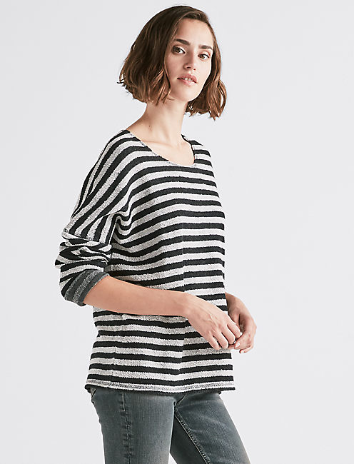TERRY STRIPE PULLOVER.,