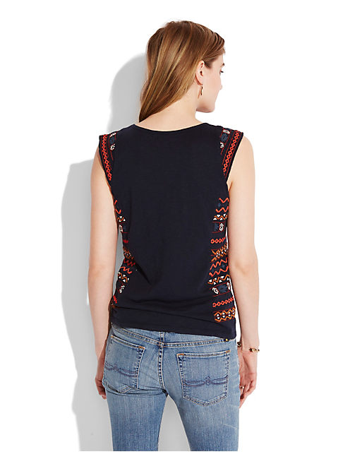 SIDE EMBROIDERED TEE, AMERICAN NAVY