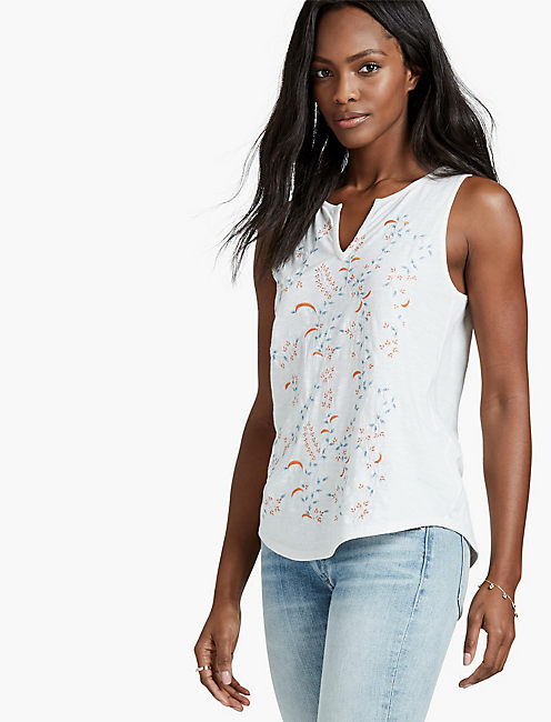 DITZY EMBROIDERED TANK,