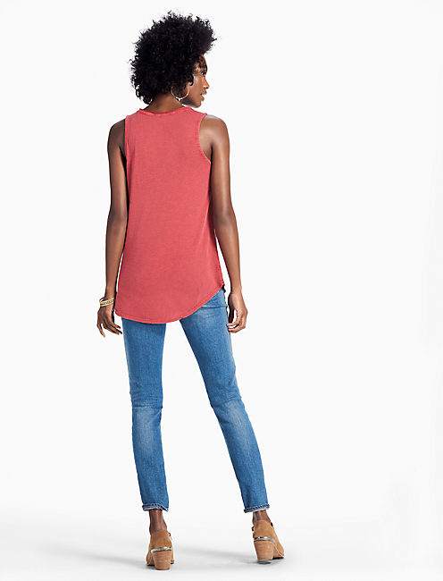 EMBROIDERED WASHED TANK,