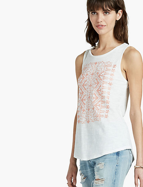 CORAL EMBROIDERED TANK,