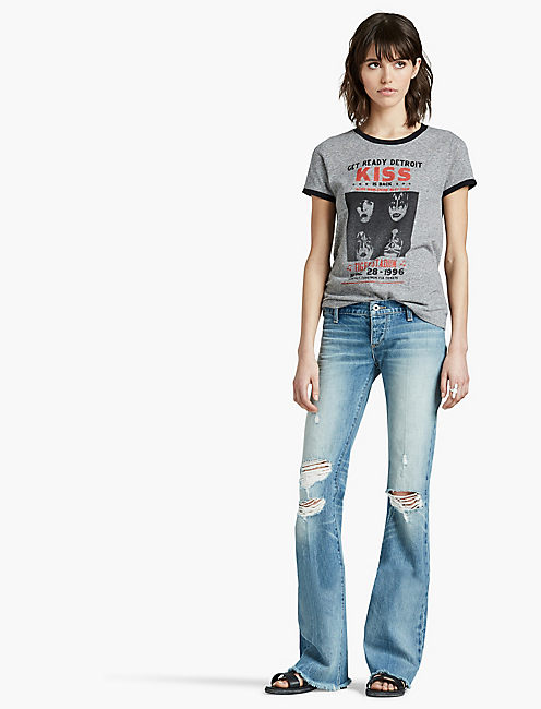 KISS RINGER TEE, HEATHER GREY