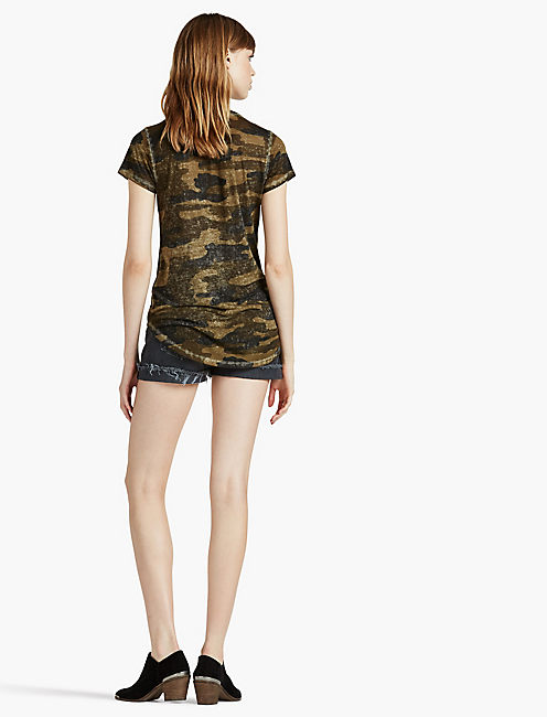 CAMO BURNOUT TEE, GREEN MULTI