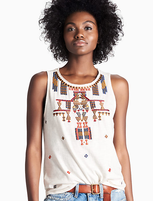GOLD EMBROIDERED TANK, LUCKY WHITE