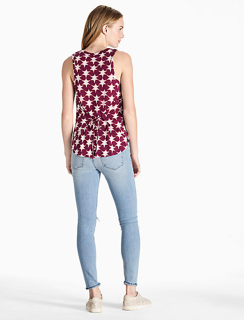 STAR TANK, BURGUNDY MULTI