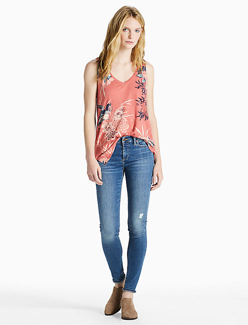 BIRDS FLORAL TANK, RED MULTI