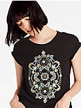 METALLIC EMBROIDERED TEE,