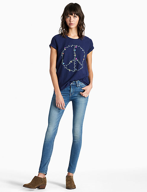 PEACE EMBROIDERED TEE, MEDIEVAL BLUE