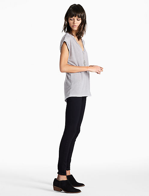 BURNOUT V NECK TANK, #9274 Steel Grey