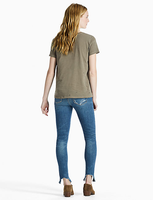 DISTRESS TEE, DARK OLIVE