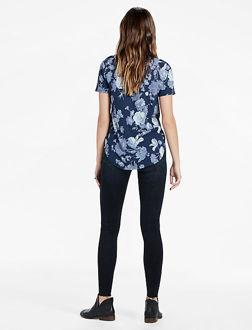 Floral Print Scoop Neck Tee,