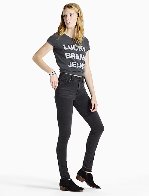 LUCKY BRAND JEANS TEE, JET BLACK