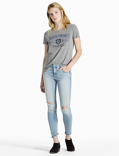LUCKY OLD TIME TEE, HEATHER GREY