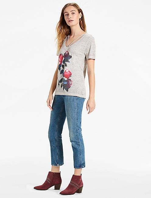 Lucky Steel Gray Floral Tee