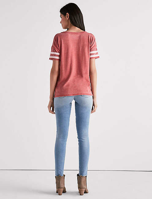 V NECK BURNOUT ATHLETIC TEE,