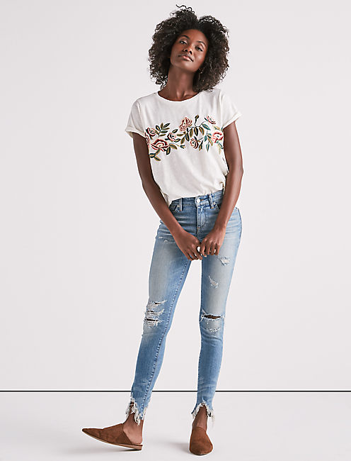 Lucky Rose Embroidered Tee