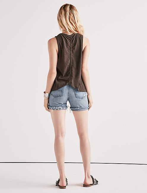 EMBROIDERED LEAF RUCHED BACK TANK,