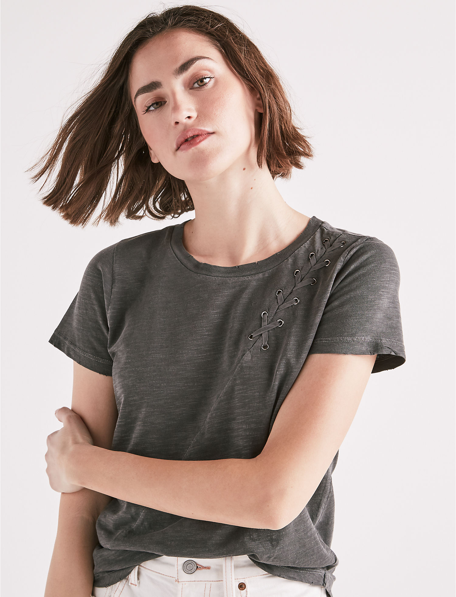 LACE UP SHOULDER TEE - Lucky Brand - Canada aabdb83b8