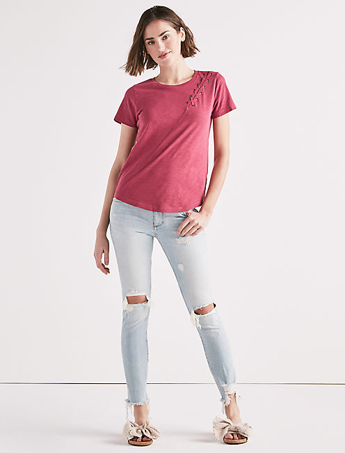 Lucky Lace Up Shoulder Tee