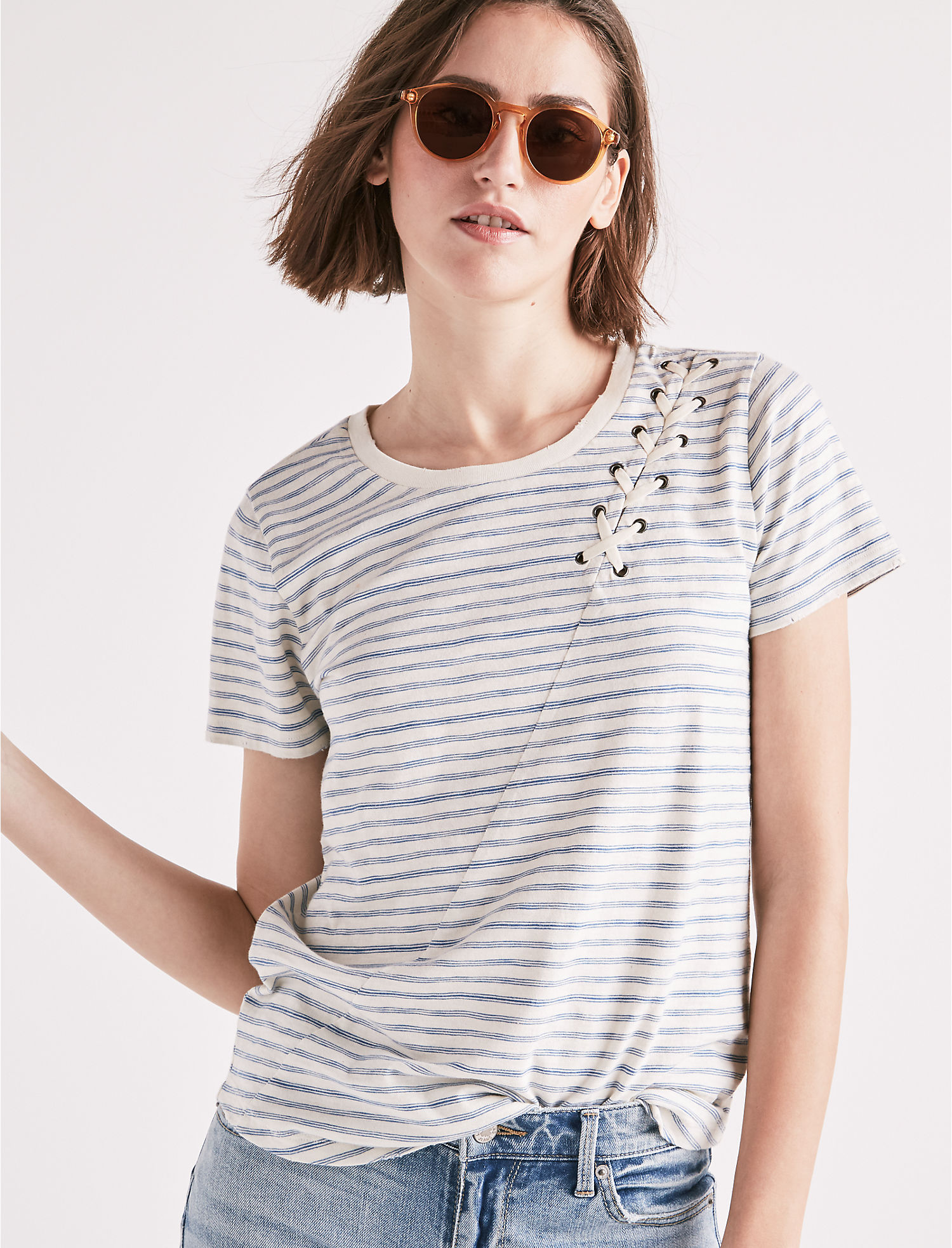 Many Kinds Of Cheap Online Cheap Discount Stripe Lace Up Shoulder Lucky Brand Browse Cheap Price Aberdeen ICm9mG91U3