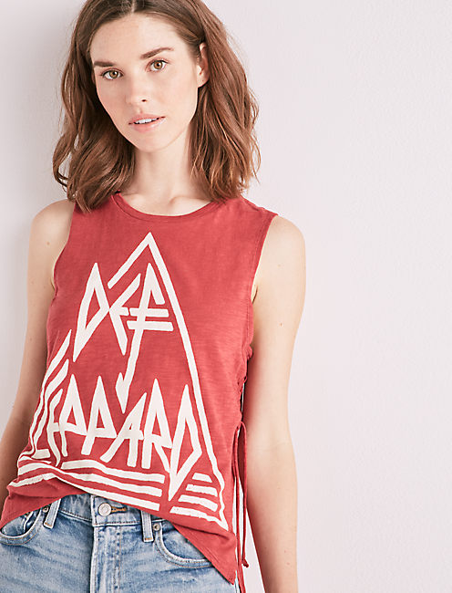 Def Leppard Side Lace Up Tee by Lucky Brand
