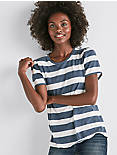 SCOOP NECK STRIPE TEE, NAVY MULTI
