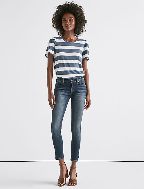 Lucky Scoop Neck Stripe Tee