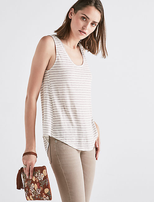 STRIPED SCOOP NECK TANK,