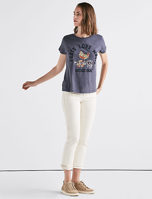 EMBROIDERED WOODSTOCK TEE,