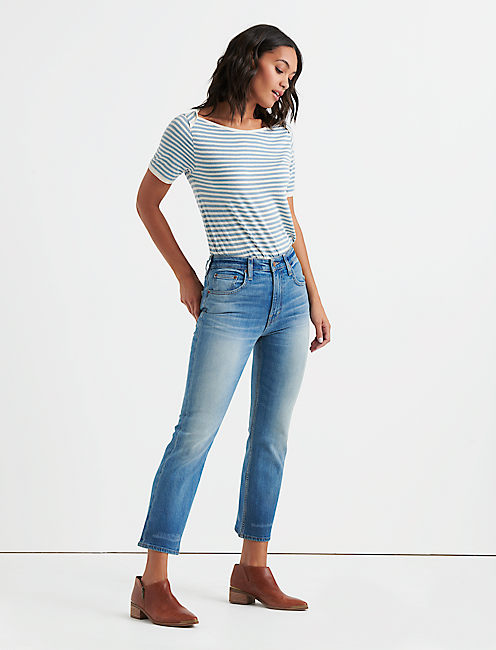BOATNECK METALLIC STRIPE TEE,