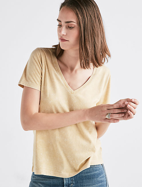 MUSTARD WASHED V-NECK,