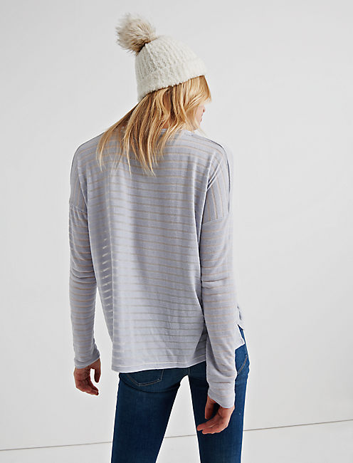 BURNOUT STRIPED POCKET TEE, BLUE MULTI