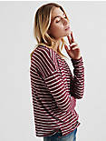 BURNOUT STRIPED POCKET TEE, WINDSOR WINE