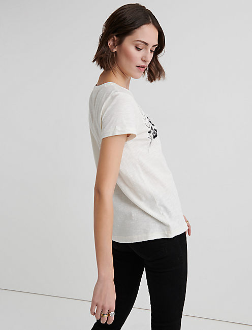 BLACK EMBROIDERED FLORAL TEE,