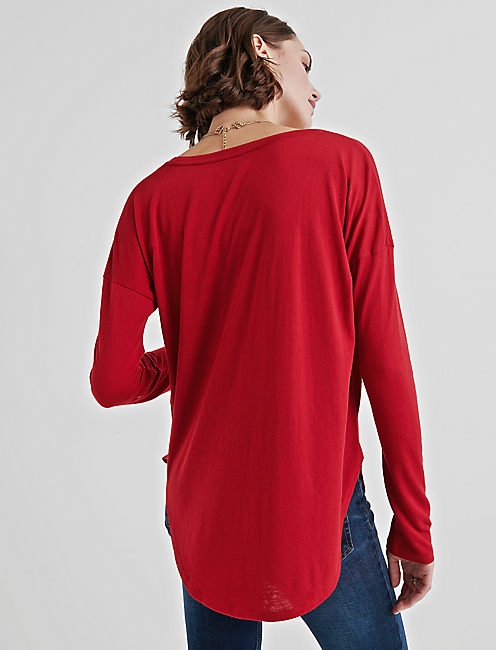 LONG SLEEVE TEE, CHERRY RED
