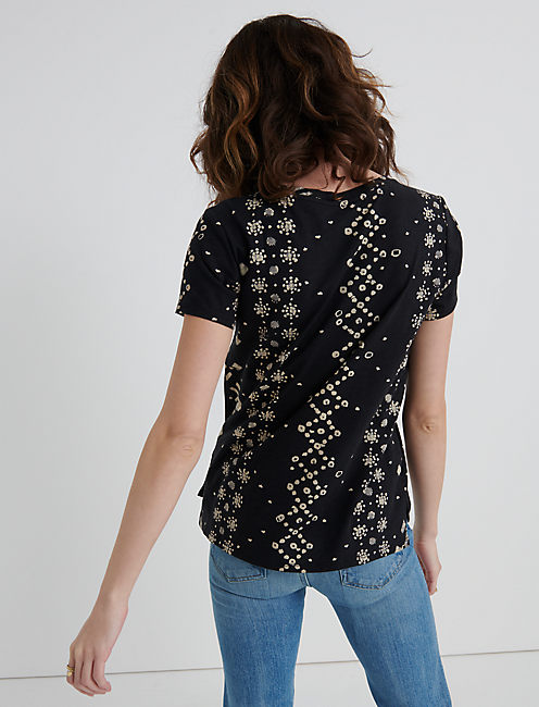 SHORT SLEEVE PRINTED TEE, BLACK MULTI