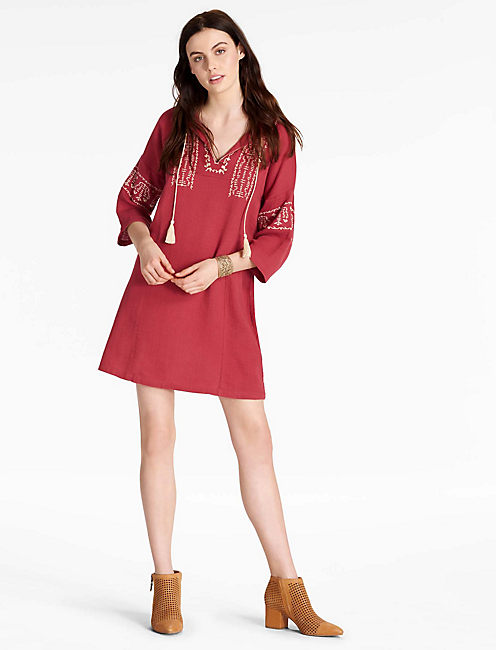EMBROIDERED TASSEL DRESS,