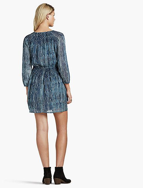 SMOCKED WAIST DRESS, NAVY MULTI