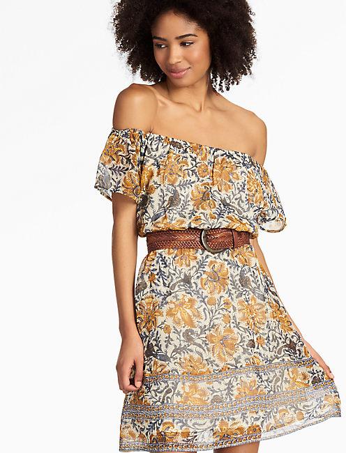 YELLOW FLOWER DRESS, NATURAL MULTI